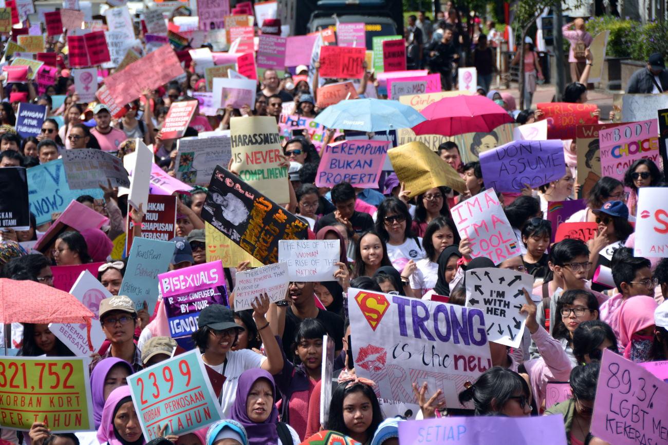 Ratusan Aktivis Gelar Aksi Women's March di Jakarta