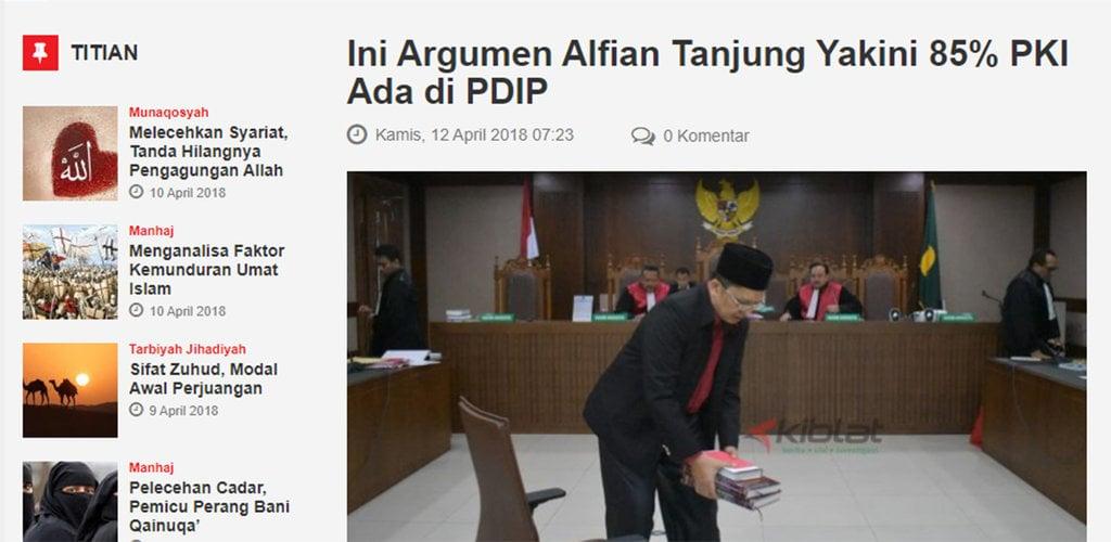 """Menguji Klaim Alfian Tanjung Soal """"20 Juta Kader PKI Memilih PDIP"""""""
