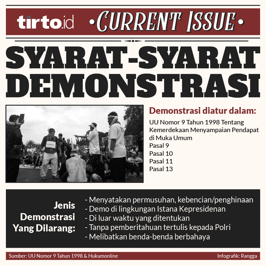Infografik current issue syarat syarat demonstrasi
