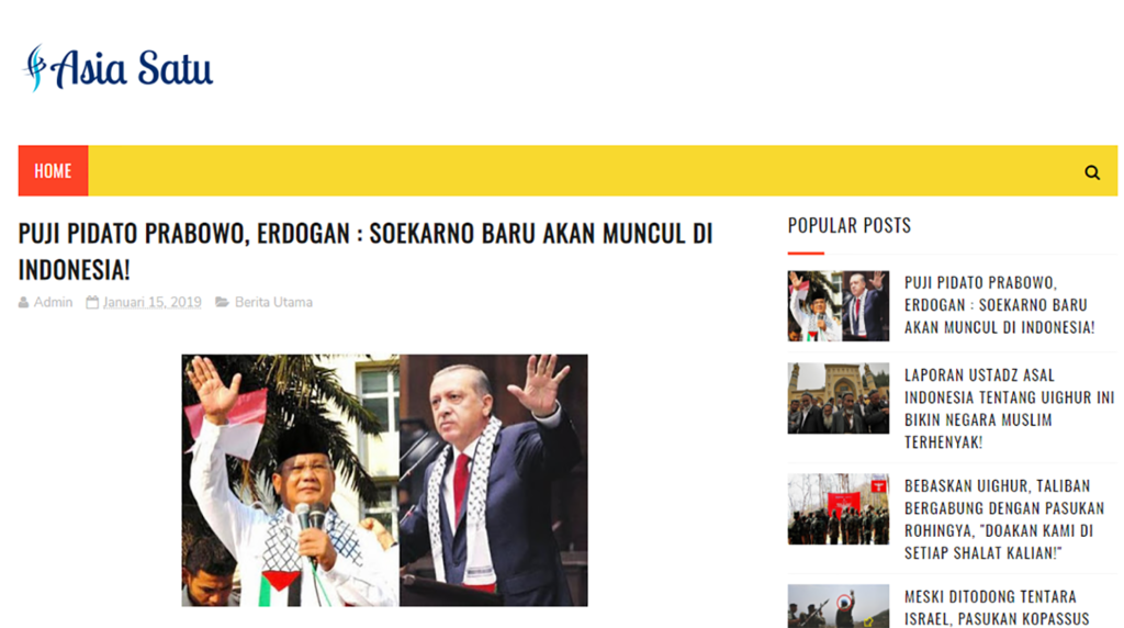 Fact Check rumor Erdogan puji Prabowo
