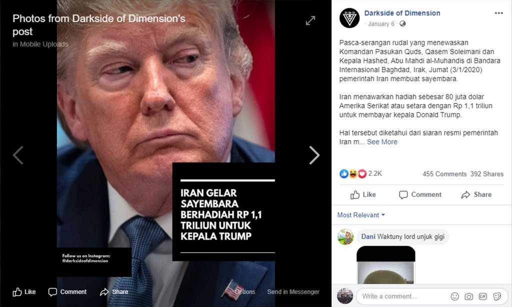 Screenshot Facebook pasca serangan rudal AS