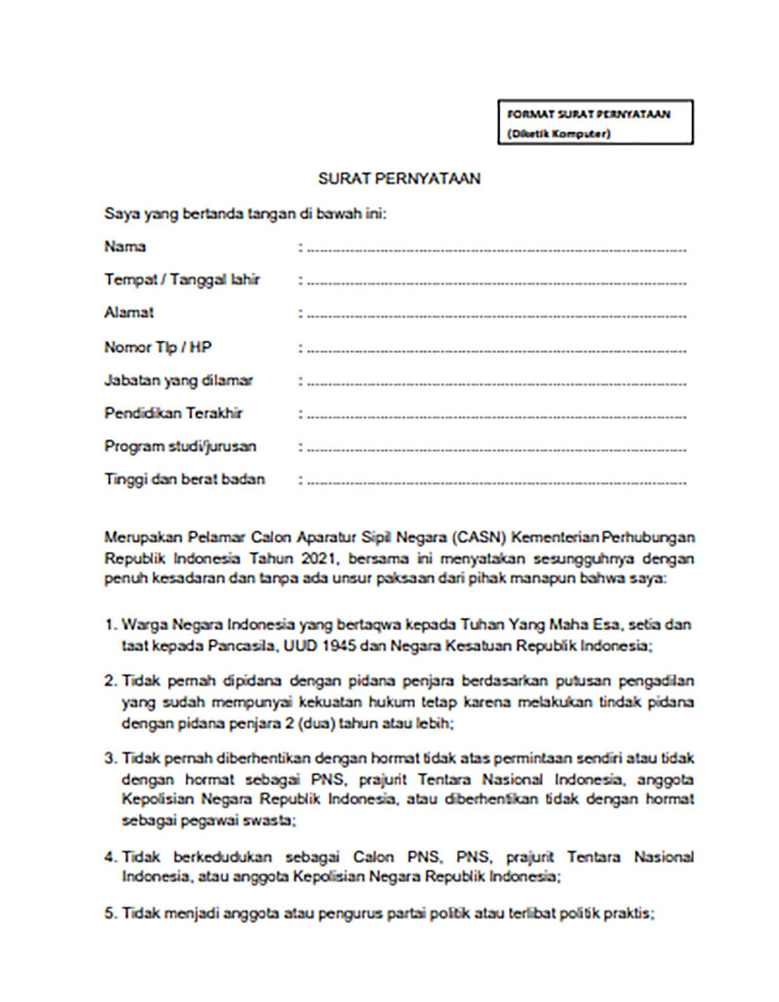 43++ Contoh surat pernyataan cpns 2021 kabupaten terbaru terbaik