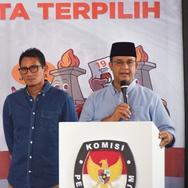 KPU Tetapkan Anies-Sandiaga Sebagai Pemimpin DKI Jakarta