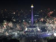 Pesta Kembang Api Tahun Baru 2018 di Monas