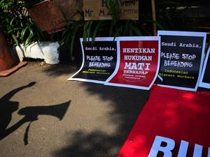 Demo Tolak Hukuman Mati TKI di Kedubes Arab Saudi