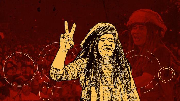 Urip Achmad Riyanto alias Mbah Surip (6 Mei 1957-4 Agustus 2009). tirto.id/Sabit