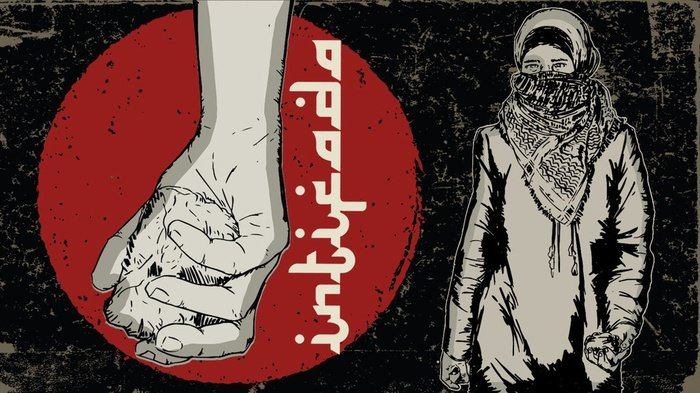 Ilustrasi gerakan Intifada. tirto.id/Sabit