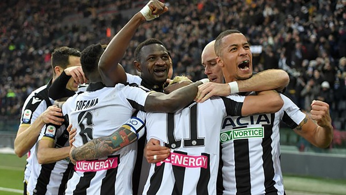 Pesepak bola Udinese merayakan gol. FOTO/udinese.it