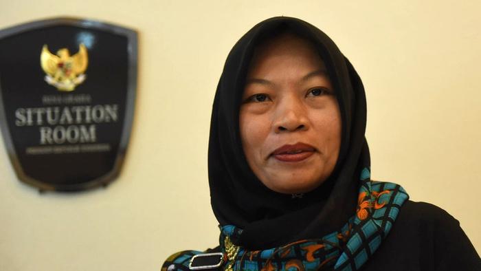 Baiq Nuril Maknun saat berada Kantor Staf Presiden, kompleks Istana Presiden, Jakarta, Senin (15/7/2019). tirto.id/Andrey Gromico