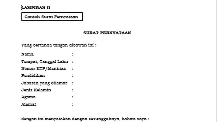 Link Download Contoh Surat Pernyataan Cpns 2021 Pdf 21 Kementerian